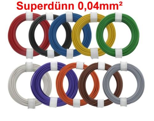 Decoder-Litze superdünn 0,04mm², Set mit 10 Farben a 10m - ideal für Lokverkabelungen  | günstig bestellen bei Weinert-Bauteile