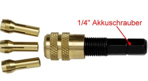 Adapter: Bohrfutter mit 3 Spannzangen für handelsübliche Akkuschrauber 1-4  - verwenden Sie Ihren Akkuschrauber für die Modellbahn! | günstig bestellen bei Weinert-Bauteile