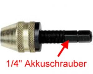 Adapter: Bohrfutter mit Schnellspannzangen für handelsübliche Akkuschrauber 1-4  - verwenden Sie Ihren Akkuschrauber für die Modellbahn! | günstig bestellen bei Weinert-Bauteile