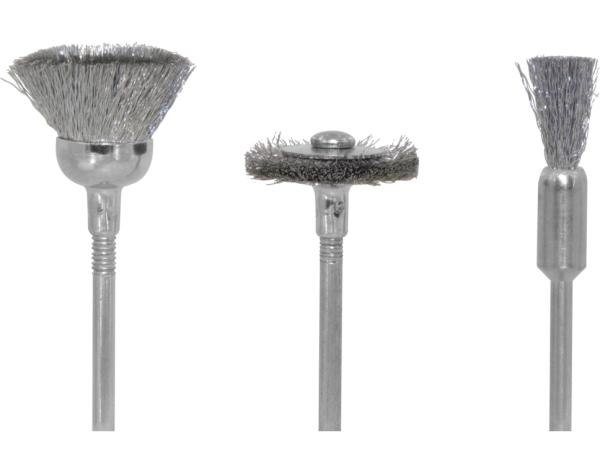 Drahtbürsten Stahl hart, je 1 Topf-, Rad- und Pinselform  - für hartnäckige Verschmutzungen | günstig bestellen bei Weinert-Bauteile