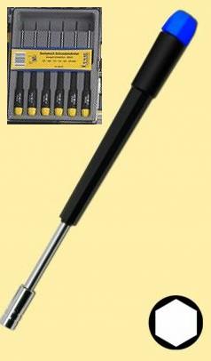 Schraubendreher-Set: 6 feine Sechskant-Steckschlüssel  - ideal für alle Modellbahn-Gestängeschrauben | günstig bestellen bei Weinert-Bauteile