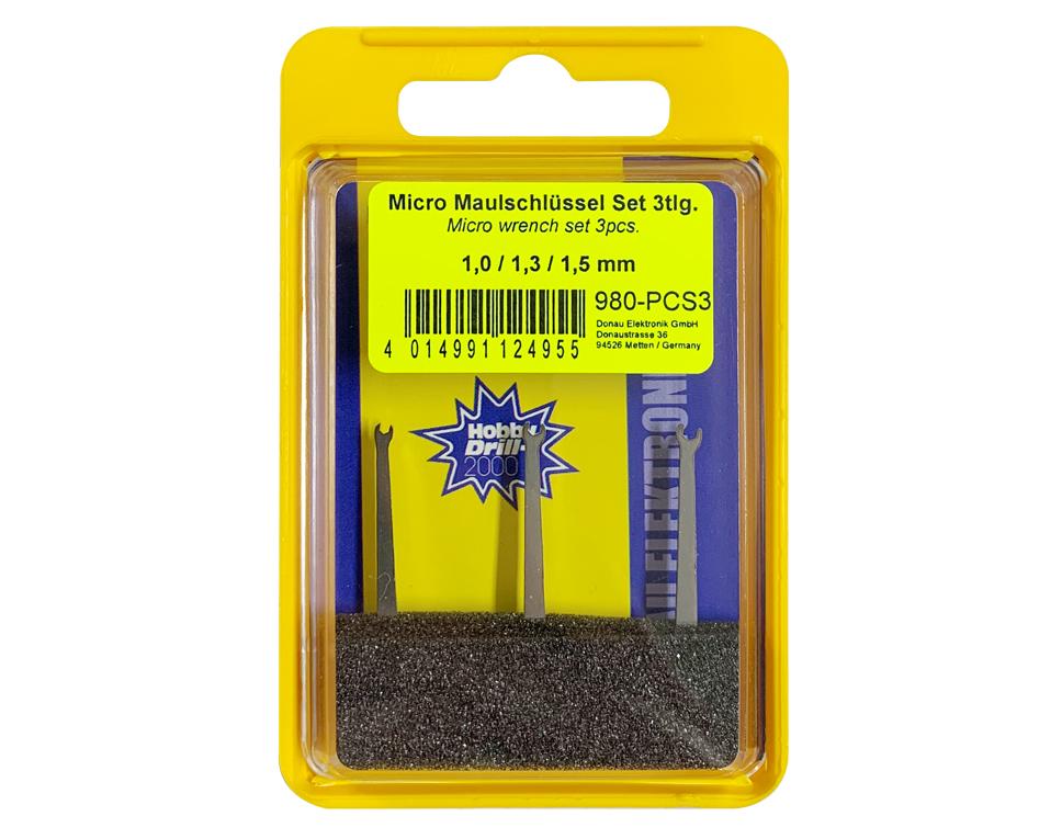 Micro-Maulschlüssel-Set mit Schlüsselweiten 1,0 - 1,3 - 1,5 mm  | günstig bestellen bei Weinert-Bauteile