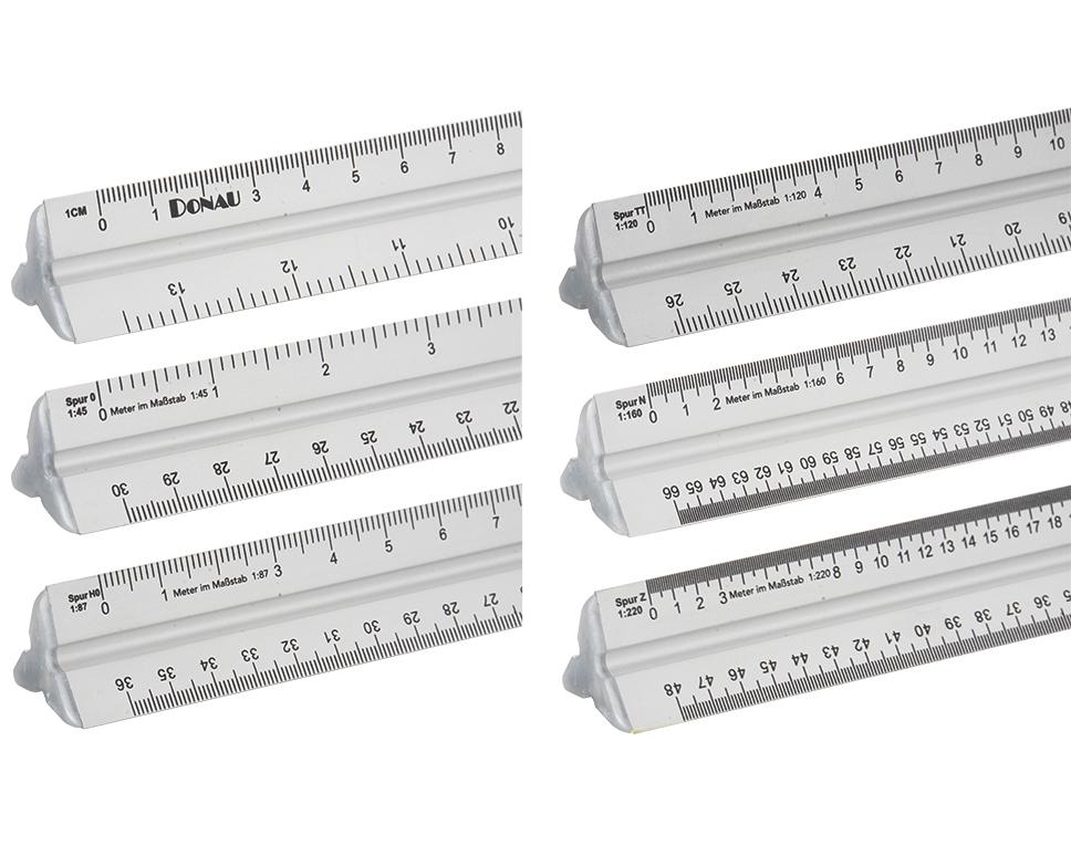 Maßstabs-Lineal, 300mm lang - für die Modellbahn-Maßstäbe Spur 0 bis Spur Z  | günstig bestellen bei Weinert-Bauteile
