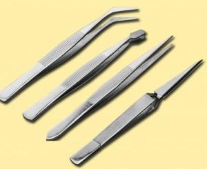 Pinzetten-Set mit 4 verschiedenen Pinzetten  - in der praktischen Kunststofftasche | günstig bestellen bei Weinert-Bauteile
