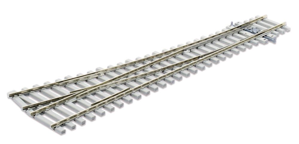 Mehr Details und Kaufen von H0 Code 75 Weiche 12° rechts mit Betonschwellen - Peco SLE1095  - L=219mm, mittlerer Radius = 914mm | günstig bestellen bei Weinert-Bauteile