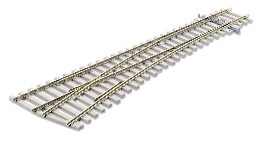 Mehr Details und Kaufen von H0 Code 75 Weiche 12° links mit Betonschwellen - Peco SLE1096  - L=219mm, mittlerer Radius = 914mm | günstig bestellen bei Weinert-Bauteile