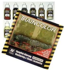 Train Color Alterungsset für Dampfloks - Vallejo  - Set mit 9 Farben, Pinseln und Mischpalette | günstig bestellen bei Weinert-Bauteile