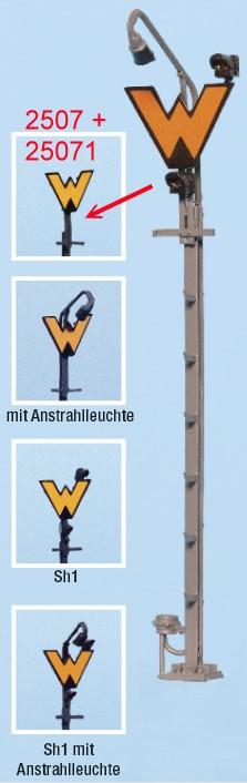 Spur 0 Wartezeichen beleuchtet mit Anstrahlleuchte, Fertigmodell - Weinert 25081  | günstig bestellen bei Weinert-Bauteile