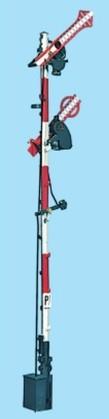 1:87 Bayrisches Ausfahrsignal, 8m Mast, 2-flüglig gekoppelt - Weinert 3112 - beleuchtete Ausführung als Bausatz | günstig bestellen bei Weinert-Bauteile