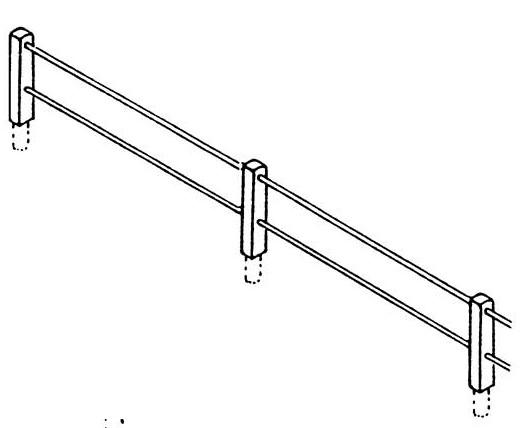 TT Zaun mit Betonpfählen für Begrenzungen an Ladestraßen, 20 Pfähle mit 2 Querstangen - Weinert 5879  - 50cm lang | günstig bestellen bei Weinert-Bauteile