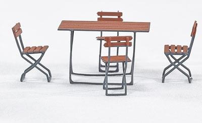 Spur 0 Gaststätten-Klappstühle mit grossem Tisch, Messing-Ätzteil - Weinert 25657  | günstig bestellen bei Weinert-Bauteile