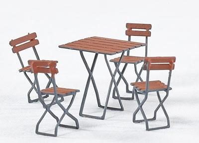 Spur 0 Gaststätten-Klappstühle mit kleinem Tisch, Messing-Ätzteil - Weinert 25658  | günstig bestellen bei Weinert-Bauteile