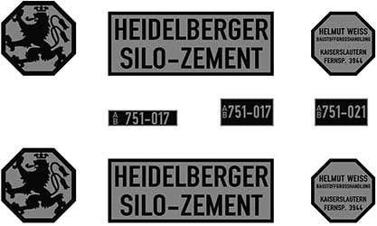 1:87 Beschriftungssatz Heidelberger Silo-Zement- Weinert 4447  | günstig bestellen bei Weinert-Bauteile