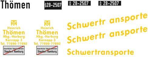 1:87 Beschriftungssatz Thömen Schwertransporte, Schiebebilder - Weinert 4456  | günstig bestellen bei Weinert-Bauteile