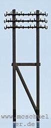 N Telegrafenmasten, 6 DOppelmasten (Messing) mit geätzten Traversen, Bausatz - Weinert 6911  | günstig bestellen bei Weinert-Bauteile
