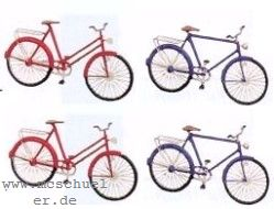 TT Fahrräder, Damen- und Herrenrad, je 2 Stück, Messing-Ätzteile - Weinert 5837  | günstig bestellen bei Weinert-Bauteile