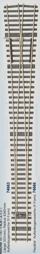 MG Code 75 Weiche Y; 1:6,6 - Weinert MeinGleis  | günstig bestellen bei Weinert-Bauteile