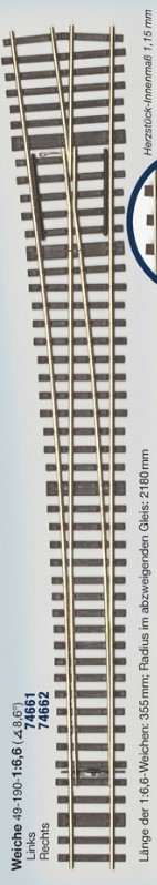 MG Code 75 Weiche 1:6,6 kurz links, Bausatz - Weinert MeinGleis 74667    günstig bestellen bei Weinert-Bauteile