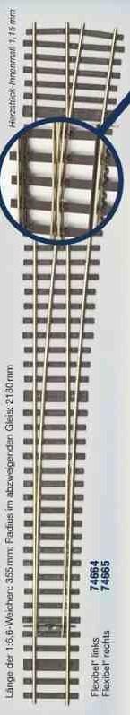 MG Code 75 Weiche rechts 1:6,6 Bausatz  - Weinert MeinGleis  | günstig bestellen bei Weinert-Bauteile