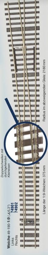 MG Code 75 Weiche links  1:9 - Weinert MeinGleis    günstig bestellen bei Weinert-Bauteile