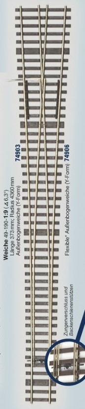 MG Code 75 Weiche Y; 1:9 - Weinert MeinGleis  | günstig bestellen bei Weinert-Bauteile