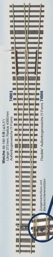 MG Code 75 Weiche Y; 1:9 Bausatz  - Weinert MeinGleis  | günstig bestellen bei Weinert-Bauteile