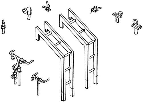 1:87 Tenderleitern für BR 44 der DR mit Armaturen und Haltern - Weinert 87131  | günstig bestellen bei Weinert-Bauteile