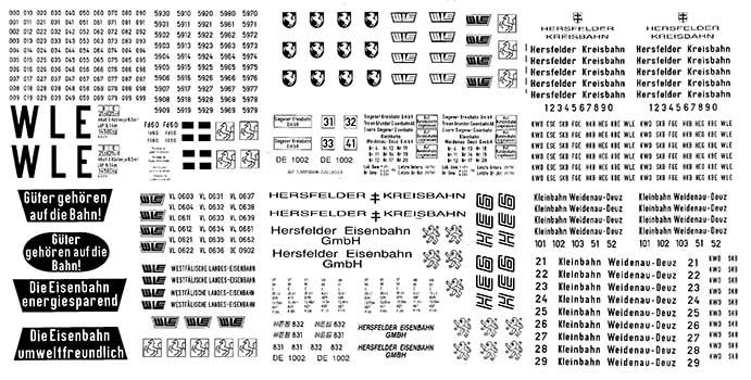 1:87 Beschriftungssatz Privatbahnen Regel- und Schmalspur- Weinert 91067  | günstig bestellen bei Weinert-Bauteile