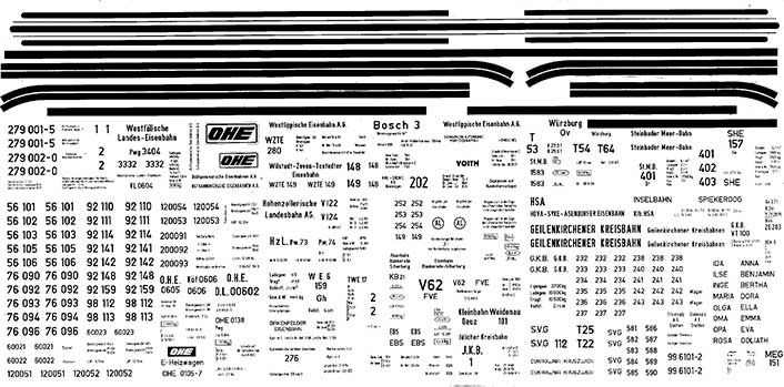 1:87 Beschriftungssatz Privatbahnen Regel- und Schmalspur- Weinert 91068  | günstig bestellen bei Weinert-Bauteile