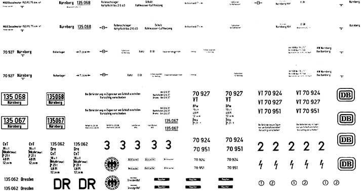 1:87 Beschriftung VT 70.9 1 Satz, Schiebebilder- Weinert 9127  | günstig bestellen bei Weinert-Bauteile