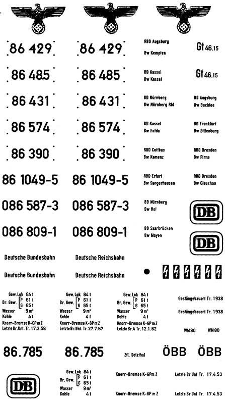 1:87 Beschriftung BR 86 1 Satz, Schiebebilder- Weinert 9133  | günstig bestellen bei Weinert-Bauteile