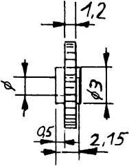 Zahnrad, Modul 0,4, 20 Zähne, 1,2mm breit,  Bohrung 2,03mm, KS, 2 Stück-Weinert 9609  | günstig bestellen bei Weinert-Bauteile