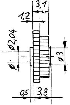 Stufenzahnrad, Modul 0,4-0,5, 20(M0,5) auf 20(M0,4) Zähne, Bohrung 2,04mm, KS, 1 Stück-Weinert 9634  | günstig bestellen bei Weinert-Bauteile